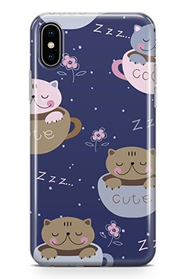 Lopard iPhone Xs Max Kılıf Silikon Arka Kapak Koruyucu Cute Kedi Desenli Full HD Baskılı Renkli